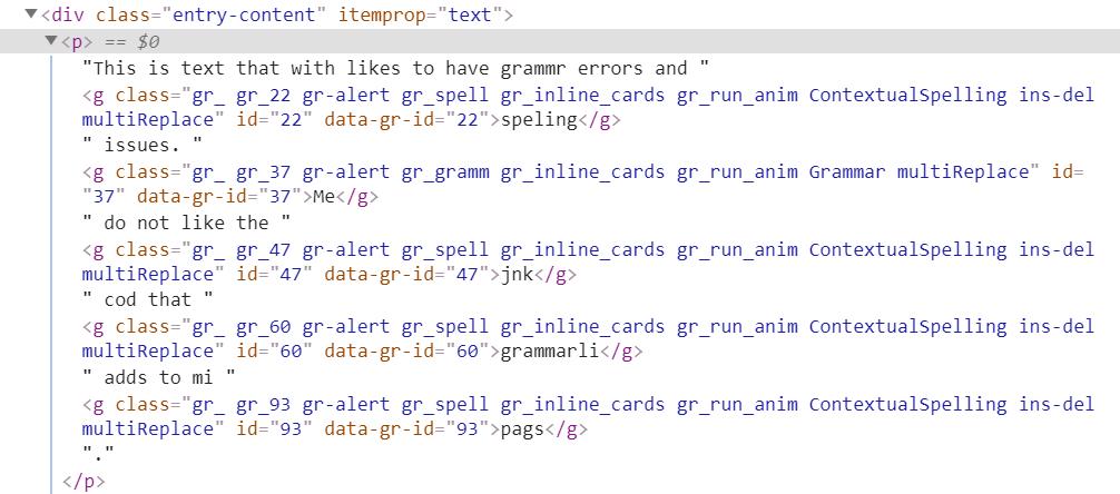 Grammarly Junk Code