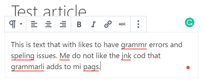 Grammarly Spelling Suggestions
